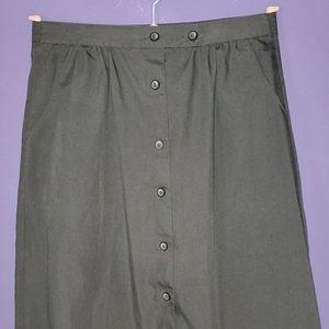 Vintage 80's Button-Up Black Skirt w/ pockets